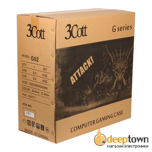 Корпус 3Cott G02 (ATX, чёрный, без БП)