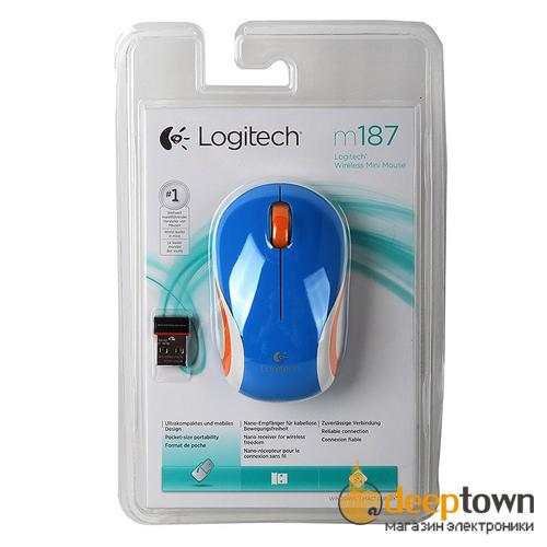 Мышь USB Logitech m187 (синяя, 910-002733)