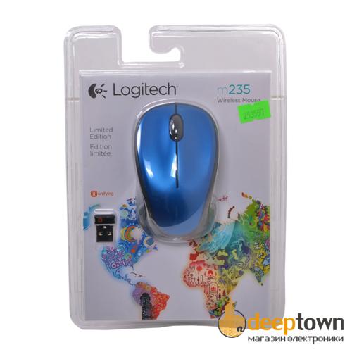 Мышь беспроводная Logitech m235 (синяя, 910-003037)