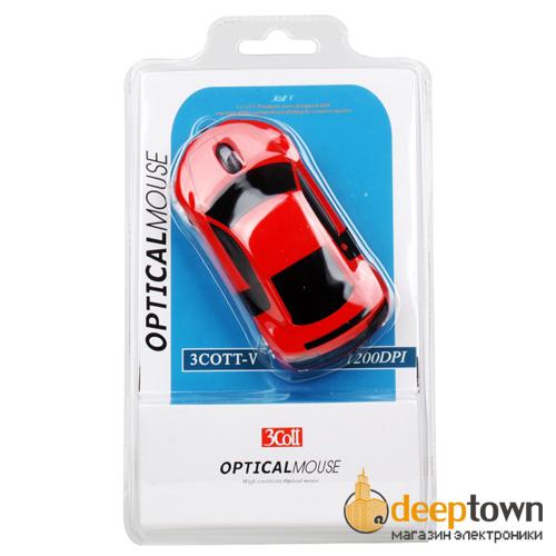 Мышь USB 3Cott V (чёрная, красная)