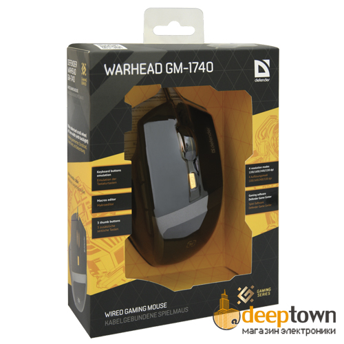 Мышь USB defender WARHEAD GM-1740 (Art.52740, чёрная)