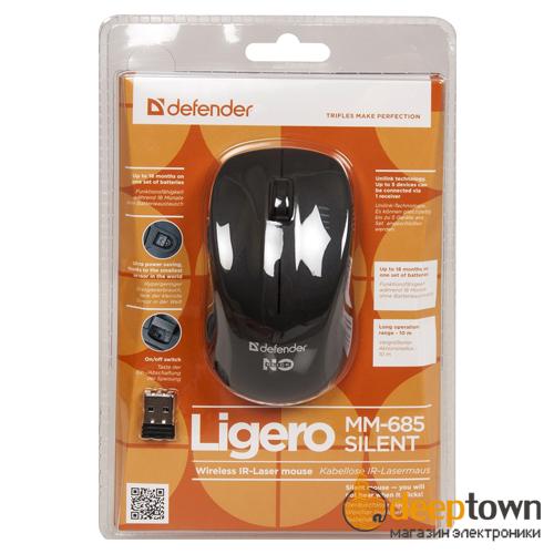 Мышь беспроводная defender Ligero MM-685 (чёрная, Арт. 52685)