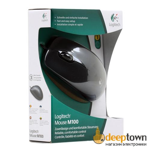 Мышь USB Logitech m100 (чёрная, 910-001604)