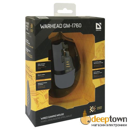 Мышь USB defender WARHEAD GM-1760 (черная, Art.52760)