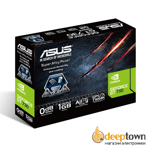 Видеокарта ASUS nVidia GeForce GT730 (1GB DDR5, 64bit, GT730-SL-1GD3-BRK)