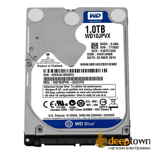 "Жесткий диск 2,5"" Western Digital 1TB WD10JPVX (5400rpm, 8MB, SATA)"